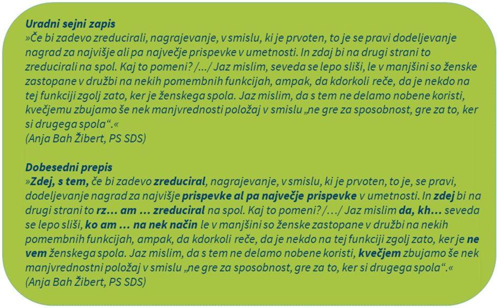 Slika 2. Primerjava uradnega sejnega zapisa in dobesedne transkripcije iz Državnega zbora RS.