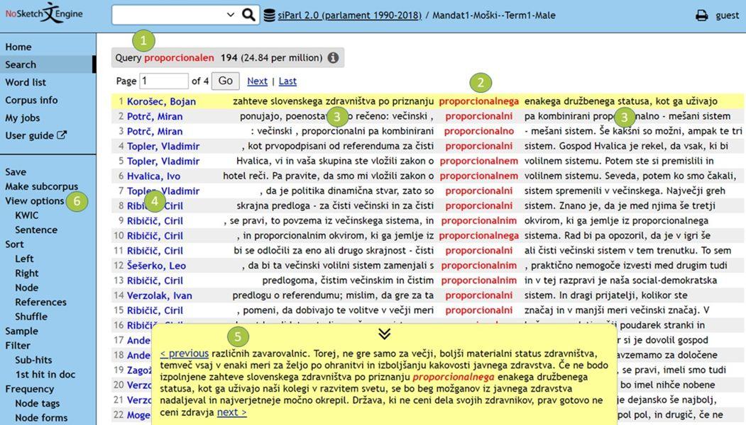 Slika 9: Razširjeni kontekst za prvi zadetek v konkordančnem nizu za ključno besedo »proporcionalen«.